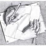 エッシャー作「描く手」