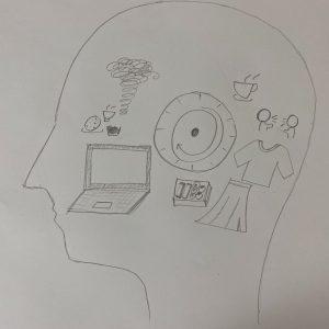 <私の一日>・6月の平日のある日について描いた作品になっています。 ・人の頭の形について  自粛期間のとある日について書くに当たって思い出している様子を表現しました。イメージとしては寝る前にその日1日を振り返るイメージです。 ・イラストについて  真ん中は時計のイラストで、中の矢印が実際の立つどう時間を表しています。  そして朝食、家族との会話、アパレルのバイト、お弁当、課題、夕飯を示しています。最後の渦はこのコロナ期、寝る前にゆっくりしながら、自分について考える習慣ができたので、その思考する時間を表しています。 また、こだわったのはイラストの大きさです。その事柄が1日に占める割合をイラストの大きさを変えることで表しました。・自粛期間について 先ほど書いたのですが、まず自分について考えることが多くなりました。将来やりたいことだったり、自分は何が好きなのかだったり、今までは毎日が忙しくて目の前のことでいっぱいいっぱいでしたが、こうやって考える時間が、自分をとても成長させてくれた気がしますし、自分の身体の調子もわかるようになりました。またオンライン授業になり、課題が増えたこともあって、講義内容を授業後に熟考したり、向き合ったりする時間も増えたと思います。 人と会えないのは寂しかったですが、人生に二度と来ないような時間投資ができたと思います。
